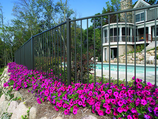 "48"" Tall Style 2 RAIL UAF-200 Flush Botton ULTRA Aluminum Pool Fence"